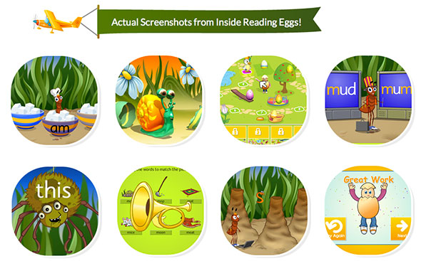 learn to read screenshot from Reading Eggs