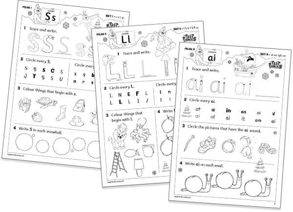 Fast Phonics games printable worksheets