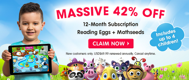 MASSIVE 42% OFF a 12-Month Subscription. Reading Eggs and Mathseeds. Includes up to 4 children. Claim Now
