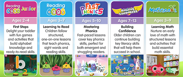 Learn to Read with Reading Eggs. There are five programs in the Reading Eggs learning suite - Reading Eggs Junior, Reading Eggs, Fast Phonics, Reading Eggspress, and Mathseeds.