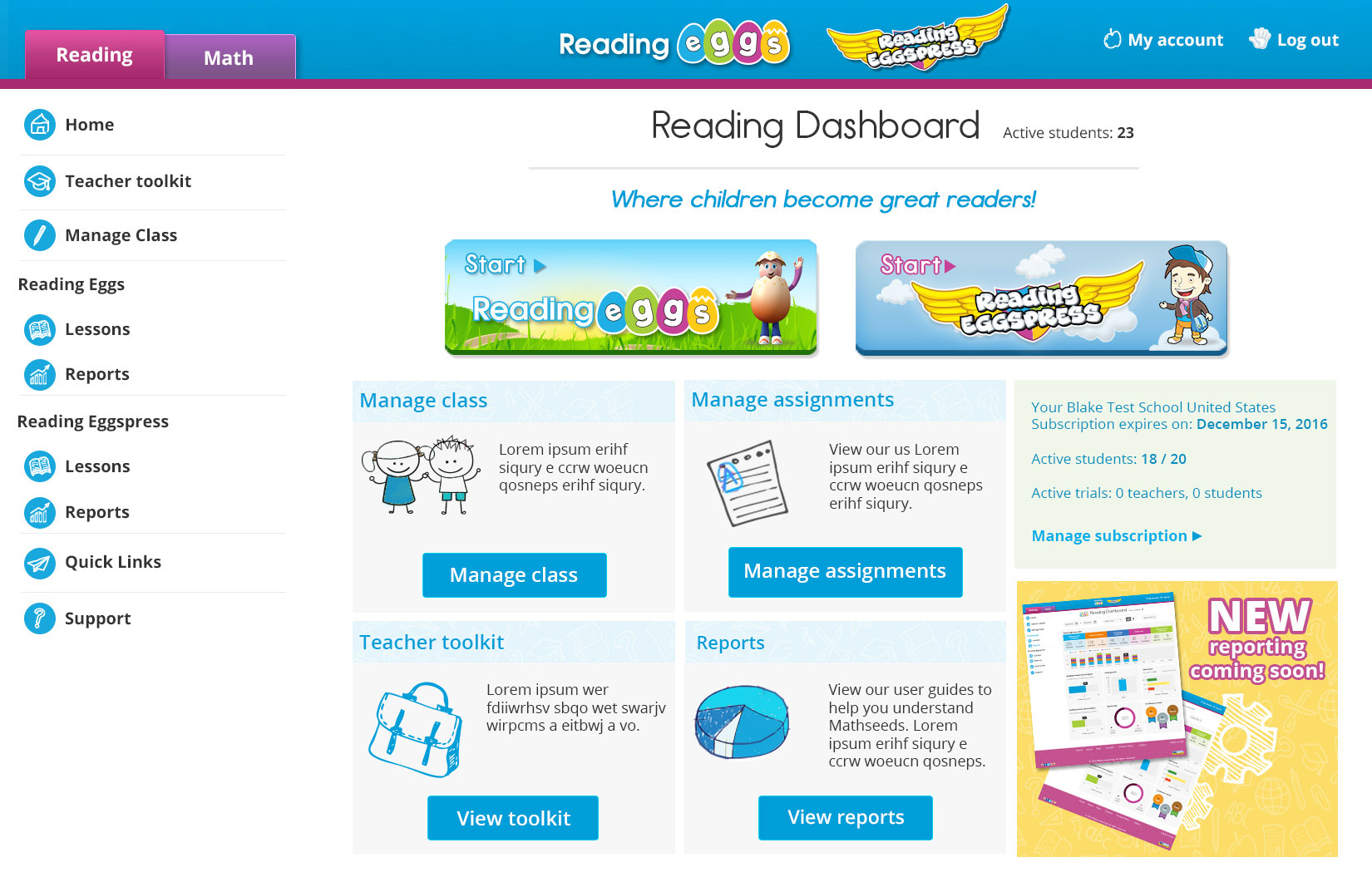 New Reading Eggs and Reading Eggspress Teacher Dashboard