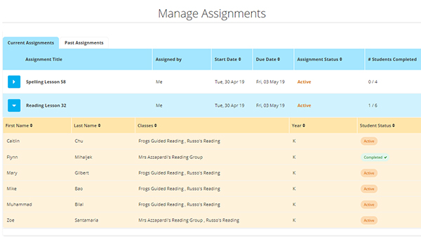 screenshot of the Manage Assignments dashboard