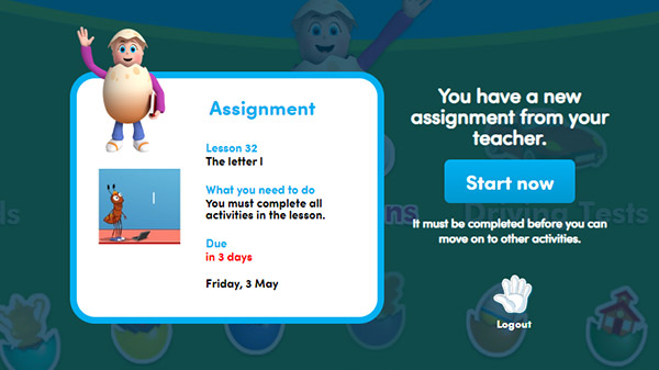 screenshot of student dashboard with assigment task